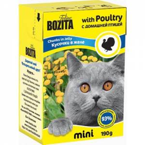 Bozita mini 0.190 кусочки в желе с домашней птицей д/кошек (Tetra Pak)